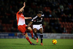 Bristol City Midfielder Jay Emmanuel-Thomas (ENG) is challenged by Leyton Orient Midfielder Jamie Ness (SCO) - Photo mandatory by-line: Rogan Thomson/JMP - 07966 386802 - 11/02/2014 - SPORT - FOOTBALL - The Matchroom Stadium, London - Leyton Orient v Bristol City - Sky Bet Football League 1.