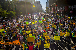 August 28, 2017 - SâO Paulo, São Paulo, Brazil - SAO PAULO SP, SP 27/08/2017 PROTEST AGAINST IMPUNITY AND AGAINST CORRUPTION: With less adhesion than at the time of the impeachment of Dilma Rousseff and shouts against the minister Gilmar Mendes, of the Supreme Federal Court (STF), followers of the movement Vem Pra Rua marched in São Paulo this Sunday. According to Rogério Chequer, leader of the group, the common protest agenda is ''for political renewal,'' which includes ''opposition to the foundation, the district and the use of bribes derived from the activity of the mandate to make box two.'' Former presidents Lula and Dilma, senators Aécio Neves (PSDB-MG) and Lindbergh Farias (PT-RJ), federal deputy Vicente Cândido (PT-SP) and minister Gilmar Mendes were among the most rejected by public posters  (Credit Image: © Cris Faga via ZUMA Wire)