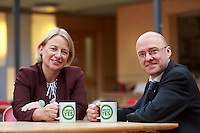 Natalie Bennett and Patrick Harvie posing for a photos taken with a green yes cup of tea.<br /> Green Leader in England Campaigns for Scottish Independence. Natalie Bennett, who leads the Greens in England and Wales join Scottish convener Patrick Harvie a head of the independence referendum at Out of the Blue Drill Hall in Edinburgh.<br /> Pako Mera/Universal News And Sport (Europe) 02/09/2014