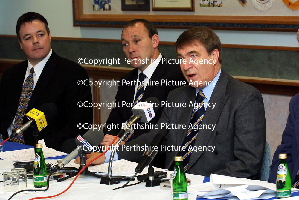 St Johnstone FC press conference after the publication of the SPL's findings into the Kevin Thomas and George O'Boyle drug mis-use..Pictured Chairman Geoff Brown and Manager Sandy Clark with lawyer Steve McLaren<br /> <br /> Pic by Graeme Hart<br /> Copyright Perthshire Picture Agency<br /> Tel: 01738 623350 / 07990 594431