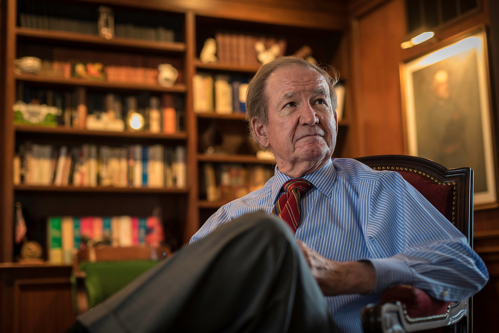 MCLEAN, VA -- 3/21/17 -- Respected conservative commentator Pat Buchanan reflects on his career at his home in McLean. .…by André Chung #_AC12633