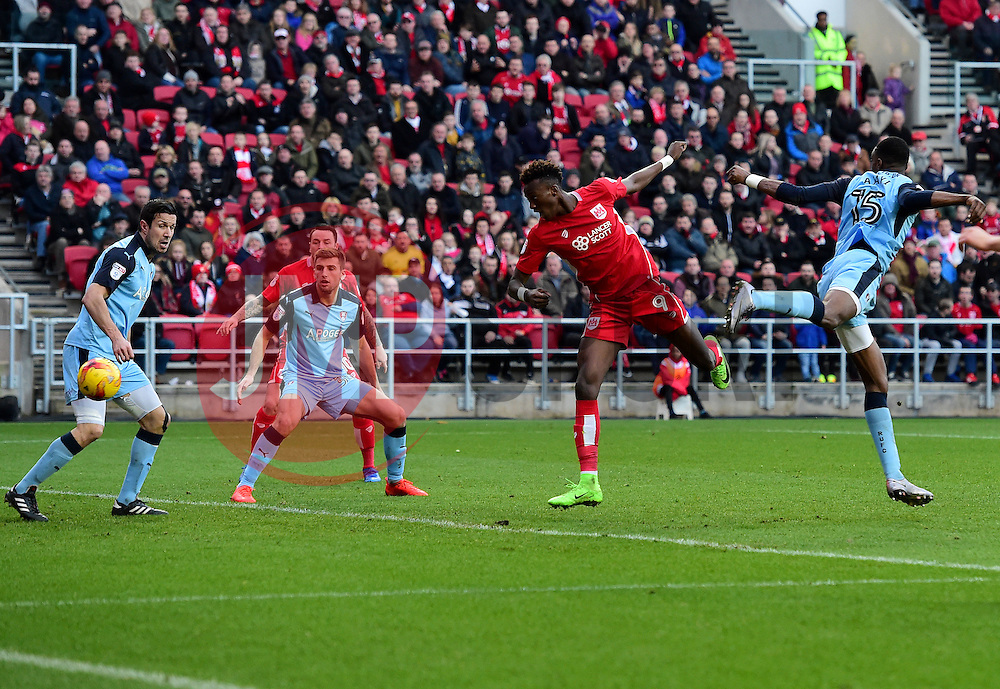 Tammy Abraham of Bristol City sees his headed effort saved  - Mandatory by-line: Joe Meredith/JMP - 04/02/2017 - FOOTBALL - Ashton Gate - Bristol, England - Bristol City v Rotherham United - Sky Bet Championship