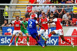 Janoi Donacien of Ipswich Town shoots at goal - Mandatory by-line: Ryan Crockett/JMP - 11/08/2018 - FOOTBALL - Aesseal New York Stadium - Rotherham, England - Rotherham United v Ipswich Town - Sky Bet Championship
