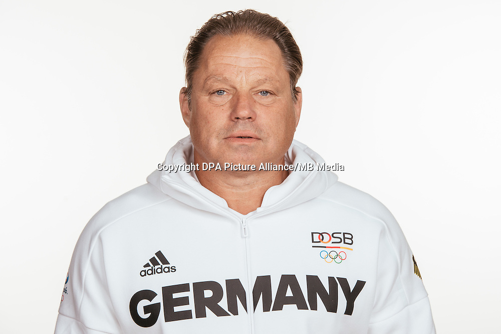 Detlef Uibel poses at a photocall during the preparations for the Olympic Games in Rio at the Emmich Cambrai Barracks in Hanover, Germany, taken on 12/07/16 | usage worldwide