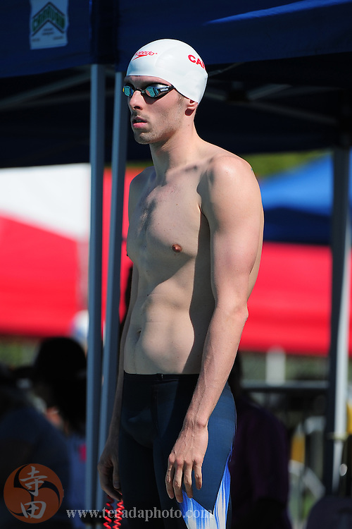 May 31, 2012; Santa Clara, CA, USA; Ryan Cochrane (CAN) prepares to compete during the men's 800-meter freestyle in the Santa Clara international grand prix at the George F. Haines International Swim Center.
