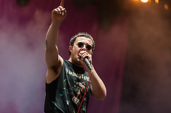 © Licensed to London News Pictures. 29/08/2015. Reading Festival, UK.  Slaves performing at Reading Festival 2015, Day 2.   In this picture - Isaac Holman.   Photo credit: Richard Isaac/LNP
