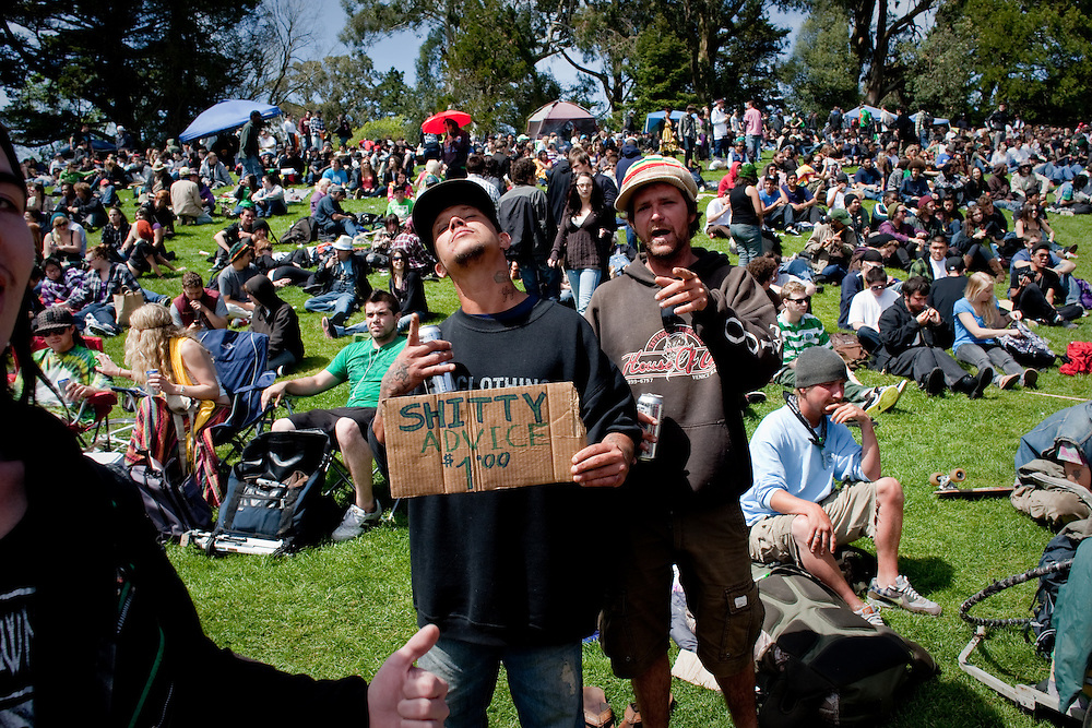 """420"" also known as ""national smoke out day""  is an unofficial holiday where people gather to celebrate and consume cannabis.  This annual events has become a social gathering and sometimes a family affair including a picnic, bbq, concerts, drum circle, and games.    Thousands of people are in attendance at 2010 ""420"" celebration at Hippie Hill inside Golden Gate Park in San Francisco, California."