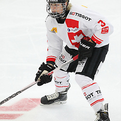 COBOURG, - Dec 16, 2015 -  Game #7 - United States vs Switzerland at the 2015 World Junior A Challenge at the Cobourg Community Centre, ON. Victor Ojdemark #3 of Team Switzerland follows the play during the first period.(Photo: Tim Bates / OJHL Images)