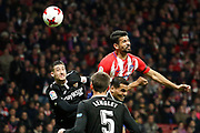 Atletico Madrid's Spanish forward Diego Costa heads the ball during the Spanish Cup, Copa del Rey quarter final, 1st leg football match between Atletico Madrid and Sevilla FC on January 17, 2018 at Wanda Metropolitano stadium in Madrid, Spain - Photo Benjamin Cremel / ProSportsImages / DPPI