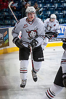KELOWNA, CANADA - NOVEMBER 6: Wyatt Johnson #21 of the Red Deer Rebels warms up against the Kelowna Rockets  on NOVEMBER 6, 2013 at Prospera Place in Kelowna, British Columbia, Canada.   (Photo by Marissa Baecker/Shoot the Breeze)  ***  Local Caption  ***