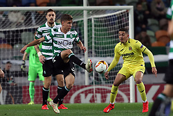 February 14, 2019 - Lisbon, Portugal - Sporting's midfielder Miguel Luis from Portugal vies with Villarreal's midfielder Pablo Fornals during the UEFA Europa League Round of 32 First Leg football match Sporting CP vs Villarreal CF at Alvalade stadium in Lisbon, Portugal on February 14, 2019. (Credit Image: © Pedro Fiuza/NurPhoto via ZUMA Press)