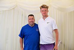 LIVERPOOL, ENGLAND - Saturday, June 23, 2018: Adam Jones (GBR) with Marcus Gerrard during day three of the Williams BMW Liverpool International Tennis Tournament 2018 at Aigburth Cricket Club. (Pic by Paul Greenwood/Propaganda)
