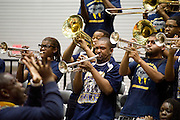 The Prairie View A&M band plays during the SWAC semi-finals against Jackson State at the Curtis Culwell Center in Garland on Friday, March 15, 2013. (Cooper Neill/The Dallas Morning News)