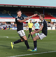 30th September 2017, Dens Park, Dundee, Scotland; Scottish Premier League football, Dundee versus Hearts; Dundee's Kerr Waddell celebrates with Kevin Holt after heading home the first of his two goals in his side's 2-1 win over Hearts