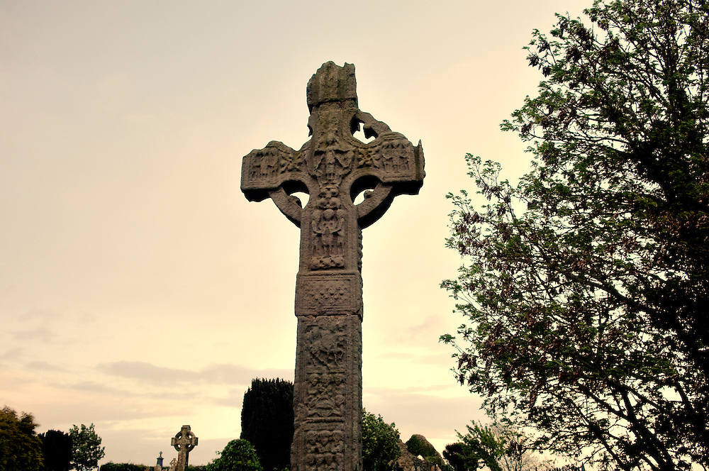 West face of the Celtic Christian High Cross of Ardboe on the shore of Lough Neagh, County Tyrone, Northern Ireland.