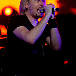 17 April, 2009: Nickelback lead singer Chad Kroeger performs with the band during their concert tour stop in support of their new album 'Dark Horse' at the New Orleans Arena in New Orleans, Louisiana.