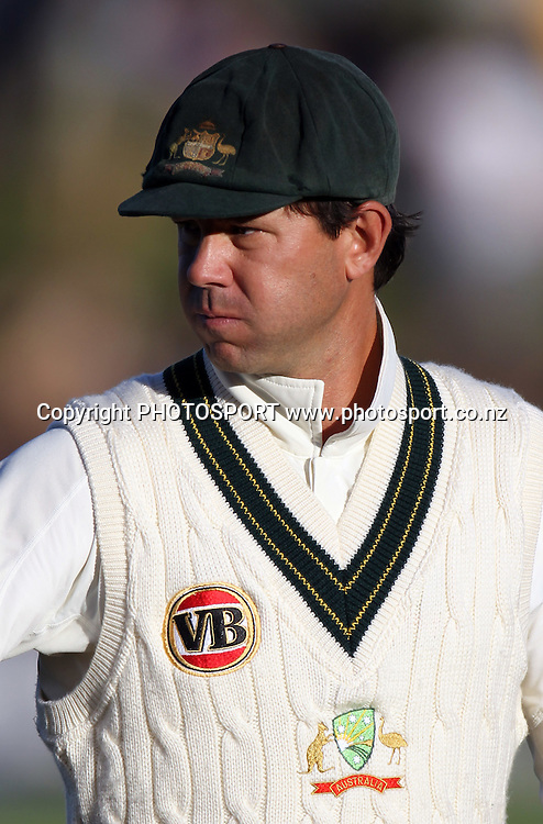 Australian captain Ricky Ponting.<br />Test Match Cricket. 2nd test. Day 1.<br />New Zealand Black Caps versus Australia. Seddon Park, Hamilton, New Zealand. Saturday 27 March 2010. <br />Photo: Andrew Cornaga/PHOTOSPORT