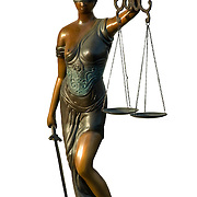 Lady Justice, the Roman Goddess of Justice and sometimes, simply &quot;Justice&quot; is an allegorical personification of the moral force that underlies the legal system. Since the Renaissance, Justitia has frequently been depicted as a bare-breasted woman carrying a sword and scales, and sometimes wearing a blindfold.<br /> <br /> Blind Justice is the theory that law should be viewed objectively. That means that determination of innocence or guilt should be made without bias or prejudice. It is the idea behind the United States Supreme Court motto &quot;Equal Justice Under Law&quot;. However, it has not always been indicative of fairness.