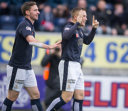 Falkirk's John Baird celebrates after scoring their first goal. <br /> Falkirk 5 v 0 Alloa Athletic, Scottish Championship game played at The Falkirk Stadium.
