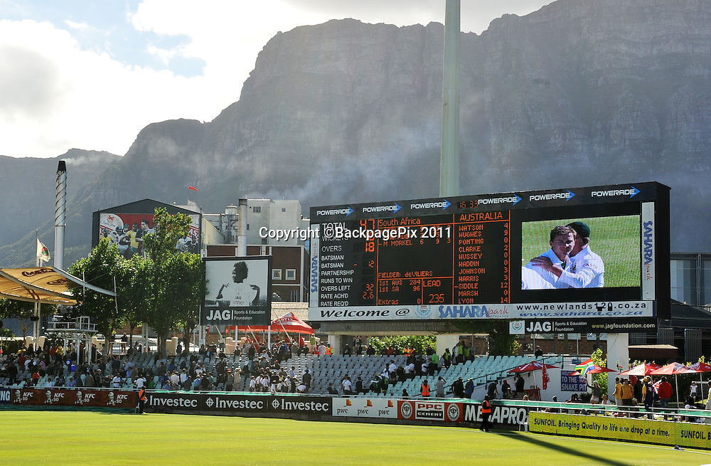 General view of the scoreboard at Newlands as South Africa bowl Australia out for just 47 runs. South Africa v Australia, first test, day 2, Newlands, South Africa. 10 November 2011<br /> <br /> <br /> &copy;Ryan Wilkisky/BackpagePix