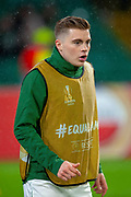 James Forrest (#49) of Celtic FC warming up before the Europa League group stage match between Celtic and RP Leipzig at Celtic Park, Glasgow, Scotland on 8 November 2018.