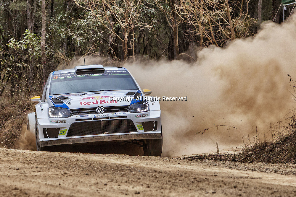 14.09.2014. Coffs Harbour, NSW, Australia.  Andreas Mikkelsen (NOR)/ Ola Floene (NOR)-Volkswagen Polo WRC on their way to 3rd place. . Coffs Harbour, final day of rally.