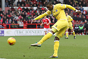 Magaye Gueye takes a shot during the Sky Bet Championship match between Nottingham Forest and Millwall at the City Ground, Nottingham, England on 31 January 2015. Photo by Jodie Minter.