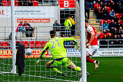 Rotherham United score the equaliser against Fleetwood Town - Mandatory by-line: Ryan Crockett/JMP - 07/04/2018 - FOOTBALL - Aesseal New York Stadium - Rotherham, England - Rotherham United v Fleetwood Town - Sky Bet League One