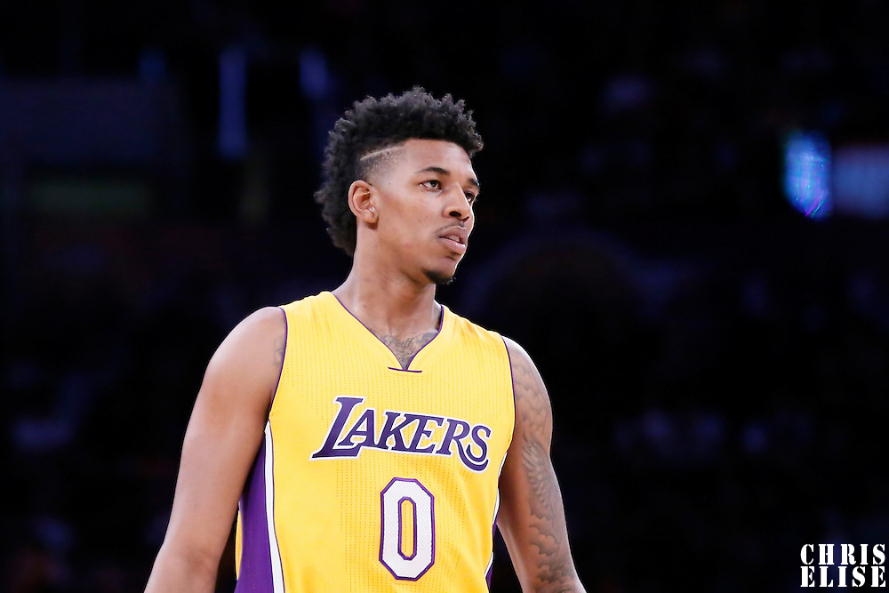 10 February 2015: Los Angeles Lakers forward Nick Young (0) rests during the Denver Nuggets 106-96 victory over the Los Angeles Lakers, at the Staples Center, Los Angeles, California, USA.