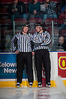 KELOWNA, CANADA - FEBRUARY 13: Linesman Cody Wanner and Tim Plamondon stands at centre ice during warm up at the Kelowna Rockets against the Seattle Thunderbirds on February 13, 2017 at Prospera Place in Kelowna, British Columbia, Canada.  (Photo by Marissa Baecker/Shoot the Breeze)  *** Local Caption ***