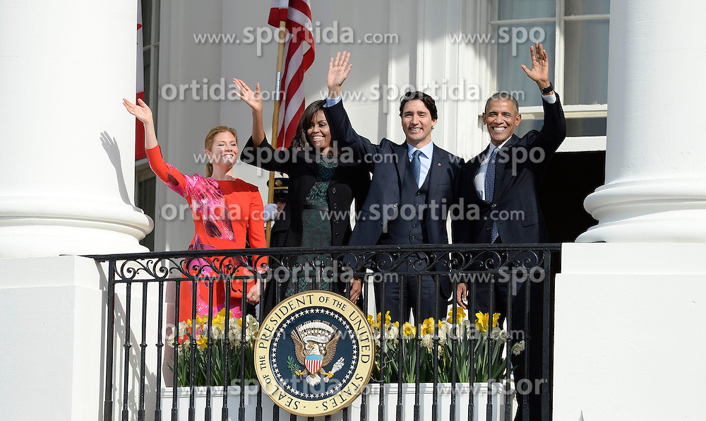 United States President Barack Obama, right, First Lady Michelle Obama, left center, and Prime Minister Justin Trudeau of Canada, right center, and and Mrs. Sophie Gr&eacute;goire Trudeau, left, wave from the South Portico of the White House following an Arrival Ceremony in Washington, DC on Thursday, March 10, 2016. EXPA Pictures &copy; 2016, PhotoCredit: EXPA/ Photoshot/ Olivier Douliery<br /> <br /> *****ATTENTION - for AUT, SLO, CRO, SRB, BIH, MAZ, SUI only*****