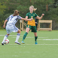 3rd year midfielder Nikita Senko (9) of the Regina Cougars defends against Kristen Sakaki (7) of the Trinity Western Spartans during the Women's Soccer home game on September 11 at U of R Field. Credit: Arthur Ward/Arthur Images