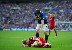 LONDON, ENGLAND - Saturday, April 14, 2012: Liverpool's captain Steven Gerrard against Everton during the FA Cup Semi-Final match at Wembley. (Pic by David Rawcliffe/Propaganda)
