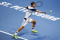 September 22, 2018 - Saint Petersburg, Russia - Martin Klizan of Slovakia returns the ball to Stan Wawrinka of Switzerland during their St. Petersburg Open 2018 semi final tennis match on September 22, 2018 in Saint Petersburg, Russia. (Credit Image: © Mike Kireev/NurPhoto/ZUMA Press)