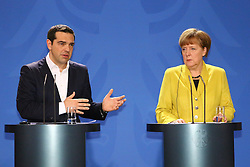 23.03.2015, Bundeskanzleramt, Berlin, GER, SPO, Merkel empfängt Tsipras, im Bild Alexis Tsipras (SYRIZA), griechischer Premierminister, und Bundeskanzlerin Angela Merkel (CDU) stehen Rede und Antwort, Empfang des griechischen Ministerpraesidenten Alexis Tsipras // German Chancellor Angela Merkel welcomes Greek Prime Minister Alexis Tsipras at the Bundeskanzleramt in Berlin, Germany on 2015/03/23. EXPA Pictures © 2015, PhotoCredit: EXPA/ Eibner-Pressefoto/ Hundt<br /> <br /> *****ATTENTION - OUT of GER*****