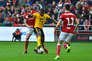Ivan Cavaleiro (7) of Wolverhampton Wanderers battles for possession with Adam Webster (4) of Bristol City during the The FA Cup 5th round match between Bristol City and Wolverhampton Wanderers at Ashton Gate, Bristol, England on 17 February 2019.