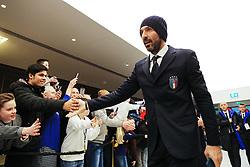 Argentina's Gianluigi Buffon greets fans on arrival at the Etihad Stadium - Mandatory by-line: Matt McNulty/JMP - 23/03/2018 - FOOTBALL - Etihad Stadium - Manchester, England - Argentina v Italy - International Friendly