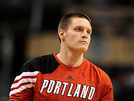 Oct. 12, 2012; Phoenix, AZ, USA; Portland Trail Blazers forward Luke Babbitt (8) reacts on the court prior to the game against the Phoenix Suns at US Airways Center. The Suns defeated the Trail Blazers 104-93.  Mandatory Credit: Jennifer Stewart-US PRESSWIRE