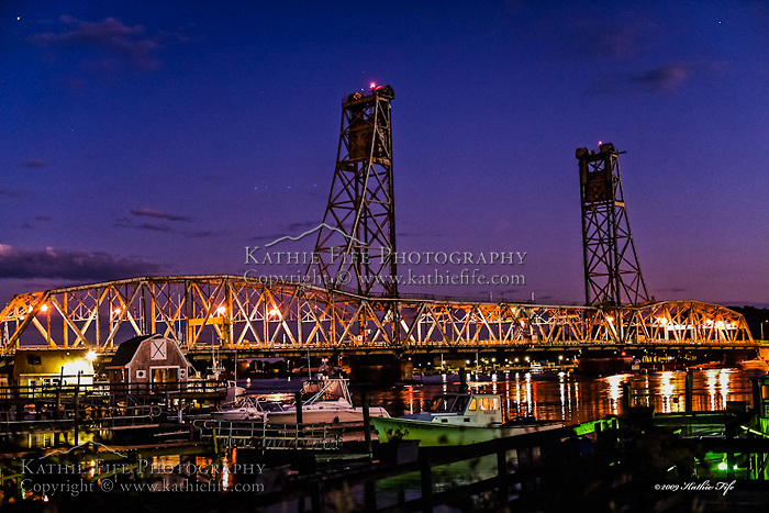 The Memorial Bridge in Portsmouth, NH at night.<br />