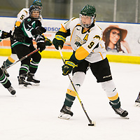 4th year forward Emma Waldenberger (9) of the Regina Cougars in action during the Women's Hockey home game on December 1 at Co-operators arena. Credit: Arthur Ward/Arthur Images