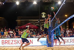 Jan Pokersnik vs Florian Schnetzer and Michael Murauer at Beach Volleyball Challenge Ljubljana 2014, on August 2, 2014 in Kongresni trg, Ljubljana, Slovenia. Photo by Matic Klansek Velej / Sportida.com