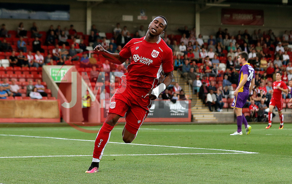 Jonathan Kodjia of Bristol City celebrates scoring a goal - Mandatory by-line: Robbie Stephenson/JMP - 25/07/2016 - FOOTBALL - Abbey Business Stadium - Cheltenham, England - Cheltenham Town v Bristol City - Preseason Friendly