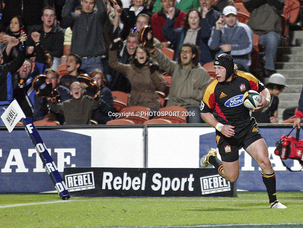 Chiefs' Mark Ranby goes over the line only to have his try disallowed during the Super 14 match between the Waikato Chiefs and Queensland Reds at Waikato Stadium, Hamilton on Friday 3 March 2006. The Chiefs won the game 35:17. Photo: Andy Song/PHOTOSPORT