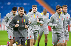 MADRID, SPAIN - Monday, November 3, 2014: Liverpool's captain Steven Gerrard during a training session at the Estadio Santiago Bernabeu ahead of the UEFA Champions League Group B match against  Real Madrid CF. (Pic by David Rawcliffe/Propaganda)