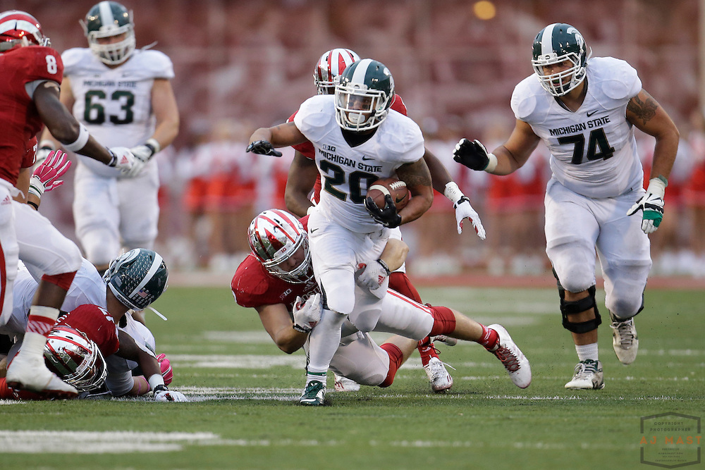 18 October 2014: Michigan State running back Nick Hill (20) as the Indiana Hoosiers played the Michigan State Spartans in an NCAA college football game in Bloomington, Ind.