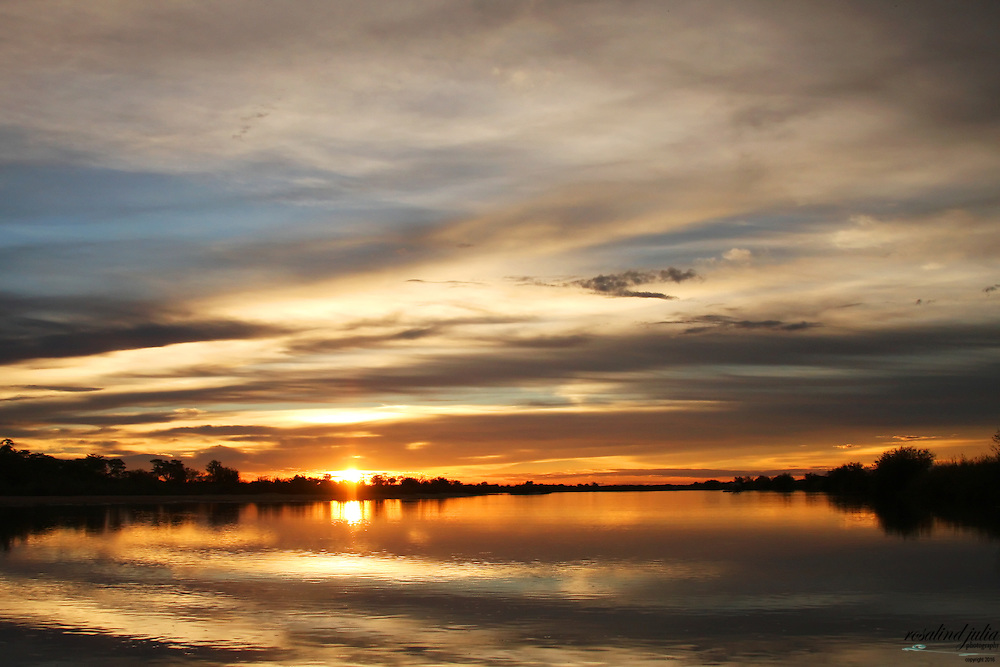 Sunset over the Okavango River, Namibia