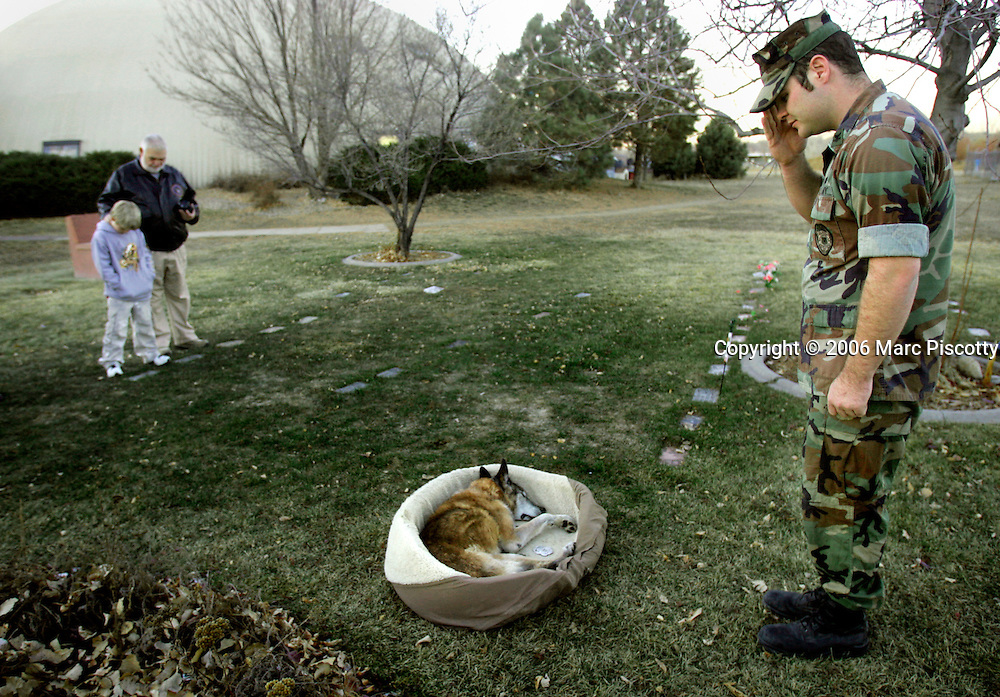 "Dominic Puzo, 23, a former Navy Master at Arms 2nd Class, salutes as he says his last goodbyes to Renzo, his pet Belgian Malanois, at a funeral service at the Longmont Humane Society on Wednesday December 21, 2005. Puzo was on his way to deal with the death of Renzo Monday when he drove past a Midas Muffler shop and saved the life of Midas employee Jose Silva who was burned in a fire at the shop. Renzo was 11 years old and served for nine years in the Marine Corps as a patrol and narcotics detection dog. Puzo said, ""He had a special place (in my heart), he was a hell of a dog"". The Longmont Humane Society donated cremation services. In the background are Gary Puzo (right), Dominic's grandfather from Grand Lake, and Joe Richart, 7, of Aurora..(MARC PISCOTTY/ © 2005)"