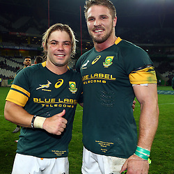 Nelspruit, SOUTH AFRICA, 20 August, 2016 -Faf de Klerk of South Africa with Jaco Kriel of South Africa during the match between South Africa and Argentina in The Rugby Championship at the Mbombela Stadium, Nelspruit (Photo by Steve Haag UAR)