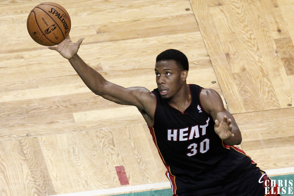 03 June 2012: Miami Heat point guard Norris Cole (30) dives for the loose ball during the Boston Celtics 93-91 overtime victory over the Miami Heat, in Game 4 of the Eastern Conference Finals playoff series, at the TD Banknorth Garden, Boston, Massachusetts, USA.