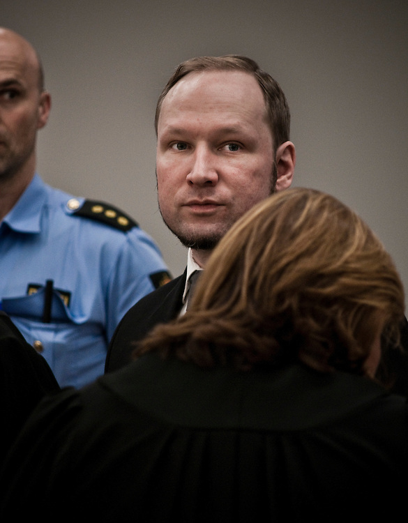 Anders Behring Breivik during the last day of his trial in Oslo Tinghus